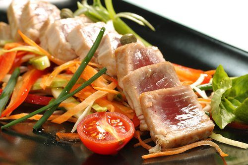 Seared tuna and vegetables about levan's catering About Us tuna and vegetables